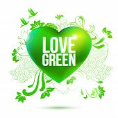Green Ecology Theme Illustration With 3D Heart And Drawing Elements