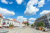 BIALYSTOK, POLAND - JULY 21: City life at the market square on July 21, 2014 in Bialystok, Poland. Bialystok is the largest city in northeastern Poland and the capital of the Podlaskie Voivodeship.