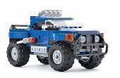 Ankara, Turkey - April 23, 2013: Lego truck isolated on white background.