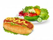 Hot dog with vegetables