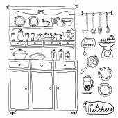 Kitchen Set In Vector. Design Elements Of Kitchen.