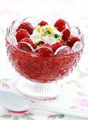 Delicious raspberry dessert with cream