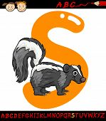 Letter S For Skunk Cartoon Illustration