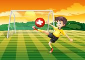 Illustration of a girl at the field kicking the ball with the flag of Switzerland