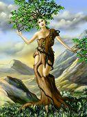 Fantasy portrait of an half girl, half tree creature. Digital illustration.