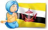 Illustration of a lady near the flag of Brunei on a white background