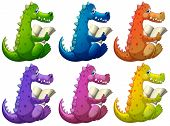 Illustration of the colorful crocodiles reading on a white background