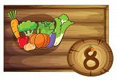 Illustration of a wooden frame with eight vegetables on a white background
