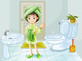 Illustration of a fresh young girl at the bathroom