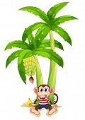 Illustration of a monkey under the banana plant on a white background