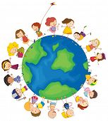Illustration of the kids around the globe on a white background