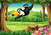 Illustration of a black bird at the jungle