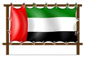 Illustration of a wooden frame with the UAE flag on a white background