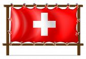 Illustration of a wooden frame with the flag of Switzerland on a white background