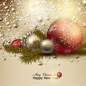 Beautiful Christmas background with red and golden balls.  Golden Xmas baubles and fir branches. Vec