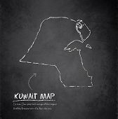Kuwait map blackboard chalkboard vector
