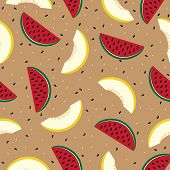 Slices of watermelon and cantaloupe, seamless pattern.