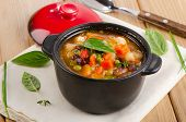 Bowl Of Minestrone Soup  With Beans And Vegetables.