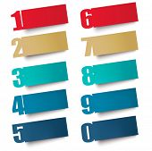 Origami paper banners with numbers.