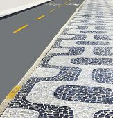 Track for cyclists - traditional mosaic seaside - Ipanema Beach - Rio de Janeiro