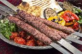 stock photo of kababs  - kabab koubideh with grilled vegetables - JPG