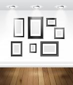 image of exposition  - Gallery interior with empty frames on the wall - JPG