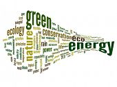 High resolution concept or conceptual 3D abstract green energy and ecology and conservation word clo