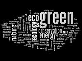 High resolution concept or conceptual abstract green ecology and conservation word cloud text on bla
