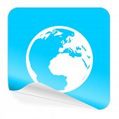 earth blue sticker icon