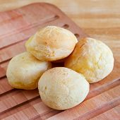 Brazilian Snack Cheese Bread (pao De Queijo) On Cutting Board