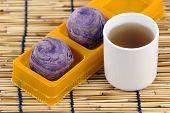 Taro Purple Bread And Hot Tea