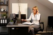 Happy blonde woman working in office, sitting at desk, using laptop computer, talking on phone.