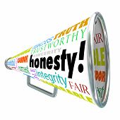 Honesty, sincerity, integrity and other good virtue words on a megaphone or bullhorn building your reputation