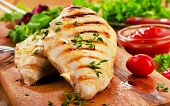 picture of breast  - Grilled chicken breast with fresh vegetables  - JPG