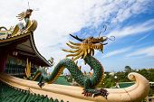 image of dragon head  - Pagoda and dragon sculpture of the Taoist Temple in Cebu Philippines - JPG