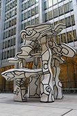 Group of Four Trees sculpture by Jean Dubuffet in the front of Chase Building in Lower Manhattan