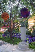 Floral sculptures in the atrium of Wynn Hotel and Casino