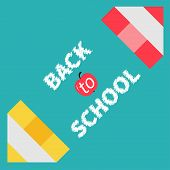 Two pencils frame. Back to school card. Flat design.