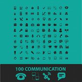 100 communication technology icons, signs, symbols, objects, illustrations set. vector