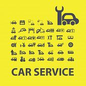 car service icons, signs, symbols, objects, illustrations set. vector