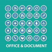 office, document icons, signs, symbols, objects, illustrations set. vector