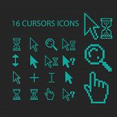 cursors icons, signs, symbols, objects, illustrations set. vector
