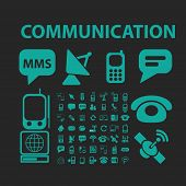 communication icons, signs, symbols, objects, illustrations set. vector