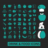 drink, food icons, signs, symbols, objects, illustrations set. vector
