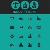 industry, factory icons, signs, symbols, objects, illustrations set. vector