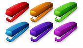 Illustration of a set of staplers