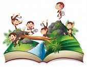 stock photo of pop up book  - Illustration of a book of monkeys in the jungle - JPG