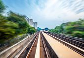 Sky train through the city center in Kuala Lumpur,motion blur