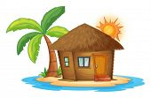Illustration of a small nipa hut in the island on a white background