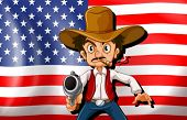 Illustration of a cowboy in front of the USA flag